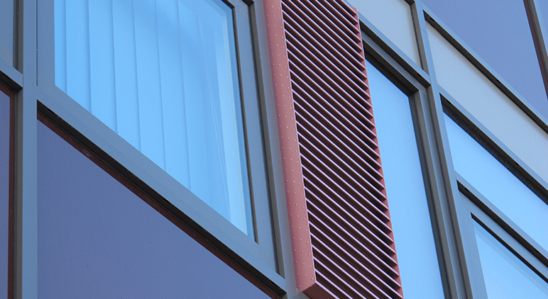 Shire Hall, Gloucester - Close up exterior shot of Windows, Cladding & louvre