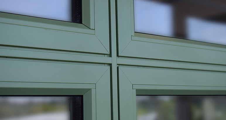 "Close up of the Crown ""Flush Vent"" Aluminium Casement Window from Sapa"