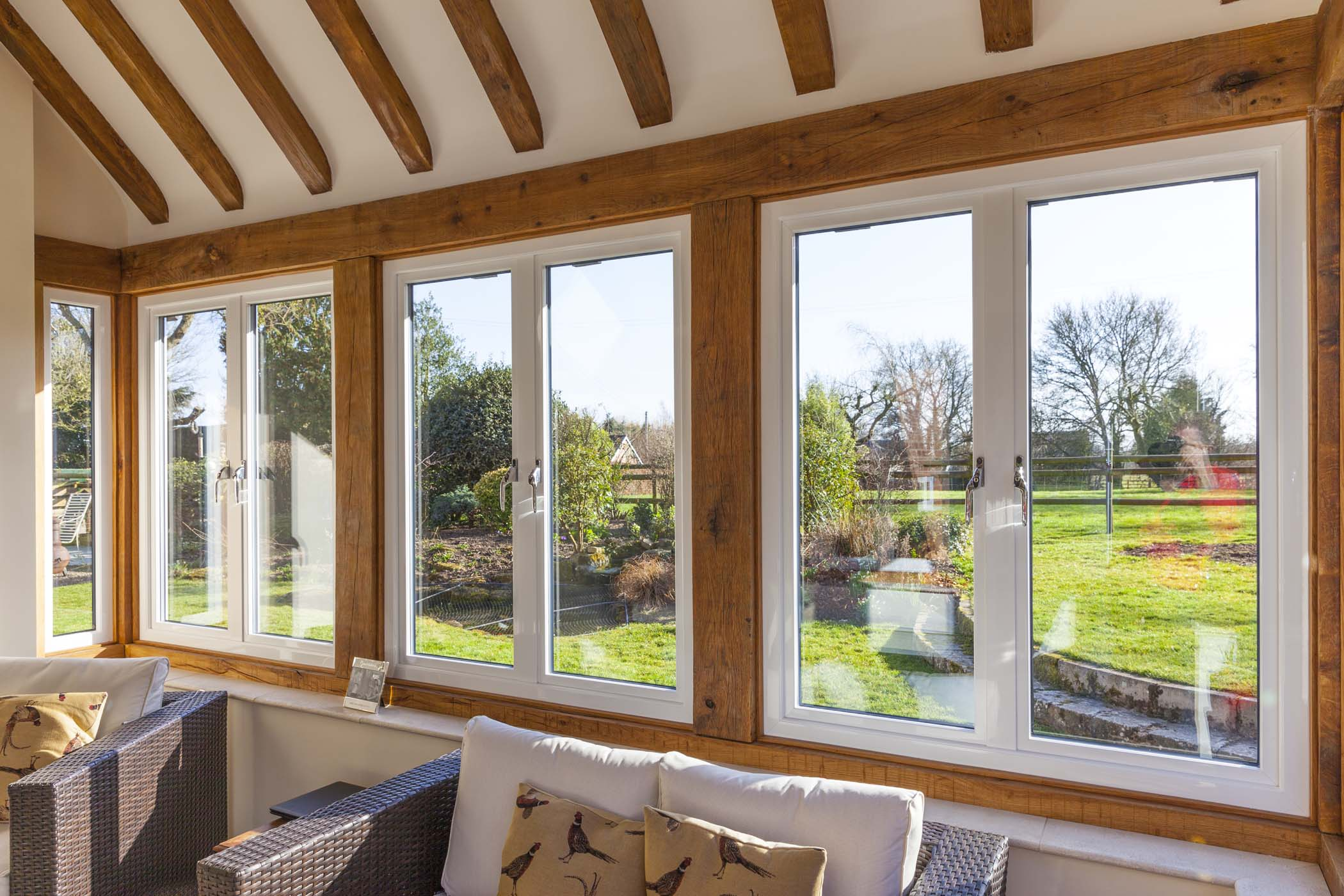 Sapa aluminium Crown Casement windows shown from the inside of a residential project